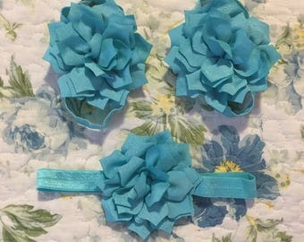 Set of baby barefoot sandals with mathing headband