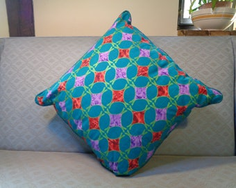Square cushion pillow  cover, turquoise orange and green with sparkle, piped, plain padded back, long side zip. Great Mothers day gift.