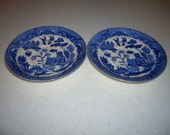 Two Vintage Blue Willow Saucers...Old Towe...r Japan