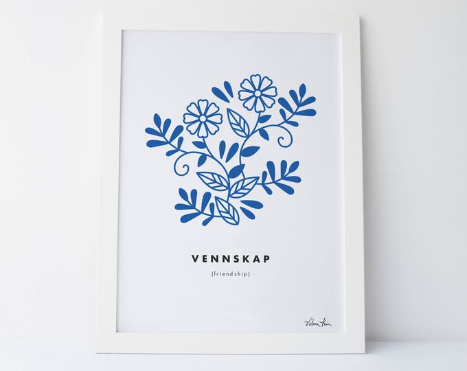 "5x7 ""Vennskap"" (Friendship) Nordic Word Print, blue and white, Norwegian Scandinavian folk art illustration"