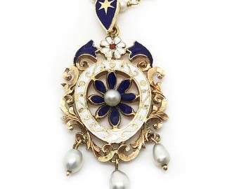 An Exquisite 18ct, 18k, 750 Gold lavalier Pearl and Enamel pendant & Pearl chain
