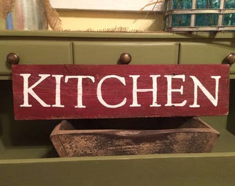 Distressed Red Kitchen Sign, farmhouse sign