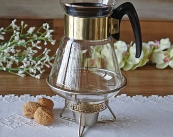 Mid century Corning coffee carafe - With warning stand - Vintage coffee server