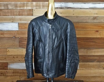 Vintage black leather coat - Short coat - Rocker bicker jacquet
