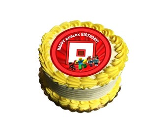 Roblox Cake Topper, 6-inch Round, on 100% Recycled PCW Paperbard