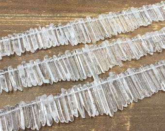 Polished Quartz Crystal Points Clear Rock Quartz Point Stick Beads Top Drilled Gemstone Loose Beads jewelry Supplies 4-7mm x 20-42mm