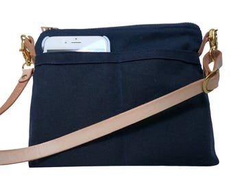Waxed Canvas Crossbody Bag Leather Strap, Canvas Waterproof Bag