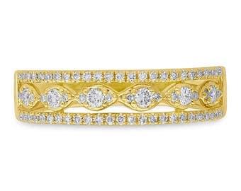 Breathtaking Women's 0.31ct 14k Yellow Gold Diamond Lady's Ring