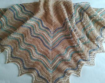 Lace shawl/ alpaca shawl/ light shawl/ cream shawl/ lace wrap/ lace scarf/