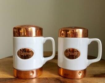 Vintage Set Of Copper White Ceramic Salt & Pepper Shakers.