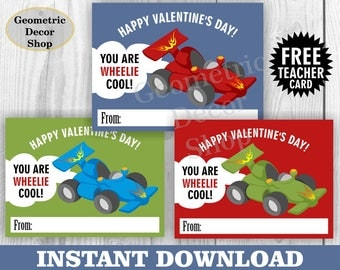 Instant download / Race car / Valentine Card / car / cars / Valentines Card / Valentine's Day / Red / Blue / green Tags teacher Kids VCard48