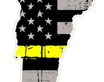 Vermont State (E45) Thin Yellow Line Dispatch Vinyl Decal Sticker Car/Truck Laptop/Netbook Window
