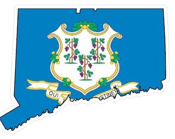 Connecticut State (Q9) Shape Flag Vinyl Decal Sticker Car/Truck Laptop/Netbook Window