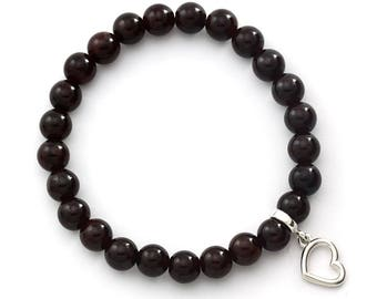 Garnet Beaded Bracelet with Sterling Silver Charm, Unique only 1 piece available! , color brown, #44984
