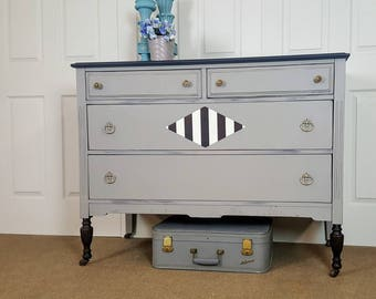 Vintage dresser / chest of drawers / entry table / changing table / nursery decor.