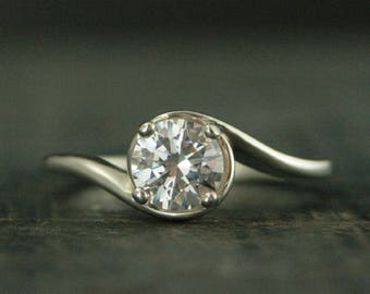 Silver Engagement Ring~Elegant Engagement Ring~Wave Ring~Ocean Ring~Bypass Ring~Solitaire Engagement Ring~Swirl Setting~Modern Engagement