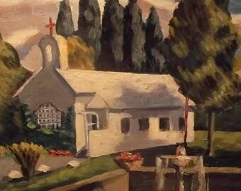 Vintage French country impressionist church landscape signed Bastien unframed