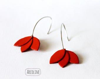 Lotus petals Orange Leather earring
