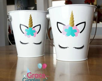 10 Unicorn Themed Metal Favor Pails