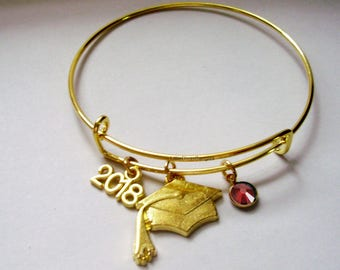 2018  Graduation Charm W/ BIRTHSTONE Bangle - Birthday Gift Graduation Day Personalize  High School College Gift For Her Usa G1