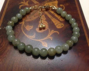 Type A Jade Bracelet, Genuine Jade Bracelet Gold, Green Jade Bead Bracelet, Green Jade Bracelet, 14k Gold filled Jade Bracelet