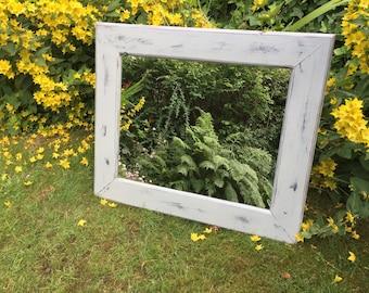 Distressed farmhouse mirror - cottage distressed, shabby mirror.