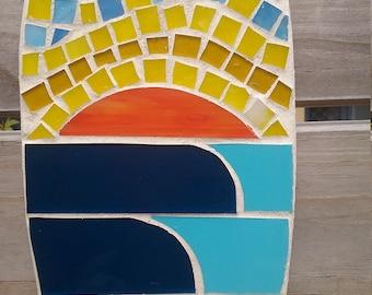 Mini surfboard, surf art, outdoor mosaic, beach decor, surf gift