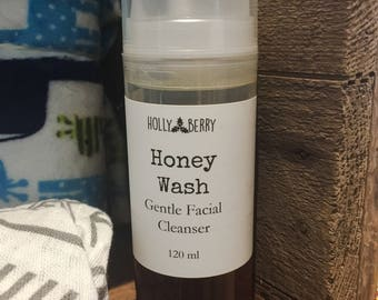 Honey Wash - Gentle Raw Honey Facial Cleanser, Natural Face Wash, Foaming Face Wash, Acne Face Wash
