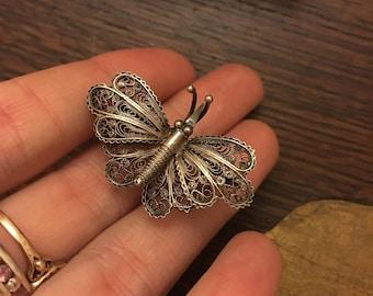 Old silver 800 filigree butterfly brooch