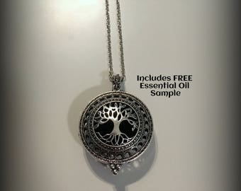 Aromatherapy Jewelry - Diffuser Necklace, Young Living or doTerra - Silver Locket