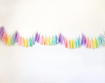 Tassel Garland | Tassel Banner | Rainbow Tassel Garland | Rainbow Party Decor | Unicorn Tassel Garland | Unicorn Party Decor | Pastel Rainbo