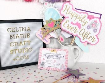 Princess Photo Booth Props | Princess Party Decor | Princess Party Decorations | Princess Party Photo Booth | Photo Booth Props | Fairy Tale