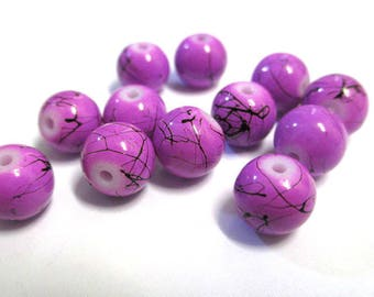 10 purple, black round glass beads painted 8mm