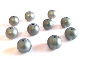 10 pearls grey brilliant glass 10mm