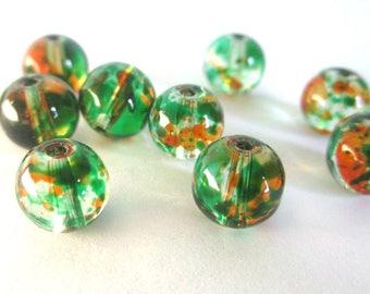 20 beads orange and green drawbench translucent glass 6mm