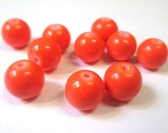 10 dark orange painted glass beads 10mm (T)