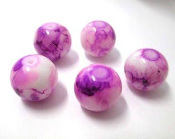 5 purple beads drawbench glass 12mm