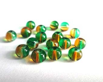 20 beads Brown and green translucent glass 6mm