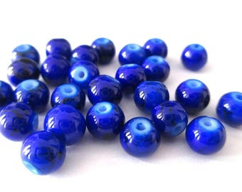 20 dark blue speckled beads 6mm (B-06)