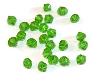 20 6mm dark green glass beads