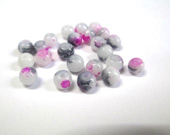 20 white speckled glass fuchsia and grey 4mm beads