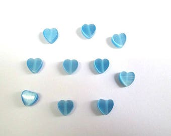 10 Blue 6mm clear heart shaped cat eye beads