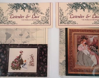 """Lavender and Lace, Cross Stitch Patterns Victorian Designs """"Morning Song"""" and """"Little Wings"""" by Marilyn Leavitt-Imblum 1995"""