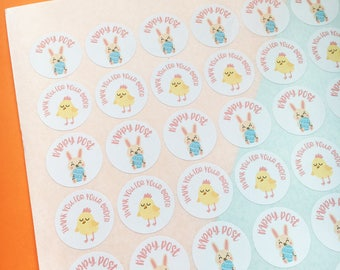 Easter Happy Post Stickers - Easter Stickers - Thank You For Your Order Stickers - Easter Packaging - Easter Bunny Stickers - Easter Labels