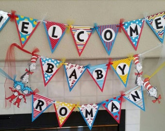 Dr. Seuss Baby Shower Banner, Upgrade to Include Name