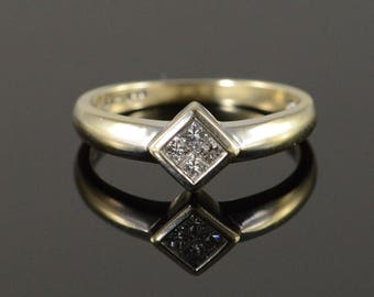 14k 0.25 CTW Princess Cut Diamond Engagement Ring Gold