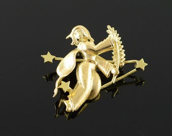 14k Le Petit Prince - Witch Flying Feather -Boy - Stylized - Rare Charm/Pendant Gold