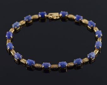 """14k Unique 7x5mm Blue Lapis Cabochon Tennis Bracelet Gold 8"""""""