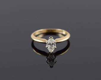 0.80 Ct Diamond Marquise Prong Engagement Ring Size 6.75 Gold