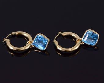 14k Round Tube Hoop Blue Topaz Charm Earrings Gold